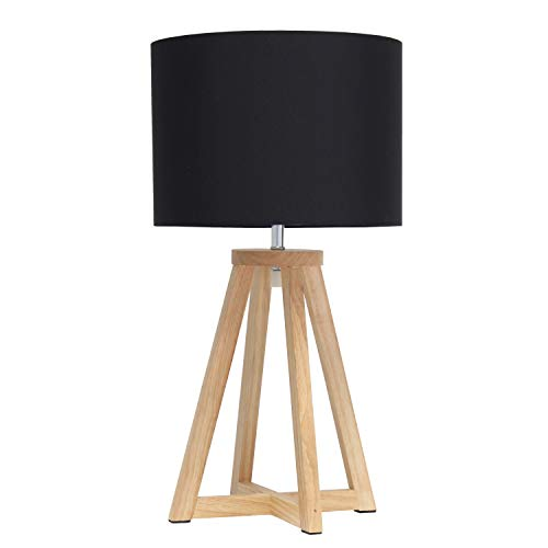Simple Designs LT1069-NBK Interlocked Triangular Wood Fabric Shade Table Lamp, Natural/Black