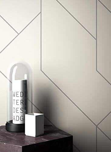 NEWROOM Tapete Weiß Vliestapete Linien - Grafiktapete Modern Silber Muster Mustertapete Grafisch Grafik Geometrische Formen inkl. Tapezier-Ratgeber