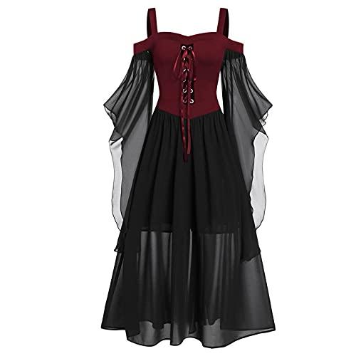 Cantissa Frauen Plus Size Cold Shoulder Schmetterling Ärmel Lace Up Halloween Gothic Kleid Gothic