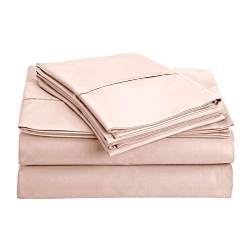 RoyalMarlen Bettwäsche-Set, ägyptische Baumwolle, Fadenzahl 400, Tagesdecke, tiefe Taschen, Premium-Bettwäsche-Set, weiches Satin-Gewebe, Luxus-Bettwäsche für Hotel-Kollektion (Kingsize, Blush Pink)