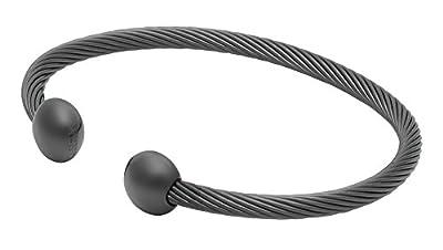 "QRAY Gun Metal Deluxe Golf Athletic Bracelet Men Women C-Shaped Health Wellness Bracelet (Small: 6""~7"")"