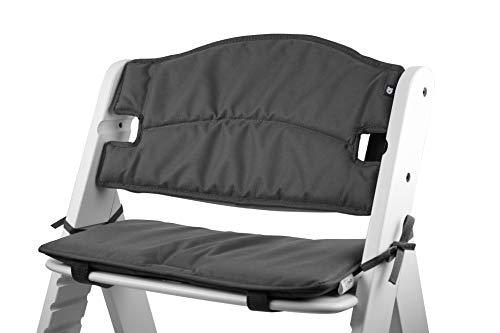 Tinydo® Hochstuhl-Sitzkissen optimal für Hauck Alpha und ähnliche Treppenhochstühle 2teilg. Set mit Memory-Schaum-Dämpfung Sitzverkleinerer-Auflage für Babystühle rutschfest pflegeleicht (Dunkelgrau)