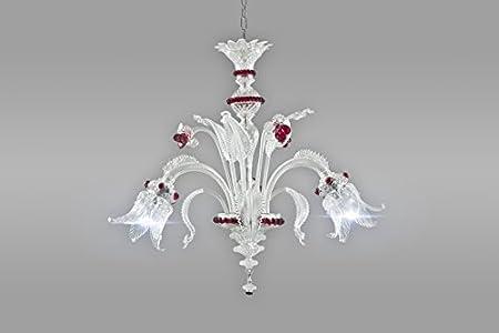Cheope - Lámpara de araña de cristal de Murano con 3 brazos y luces orientadas hacia abajo, color rojo