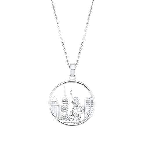 amor Kette mit Anhänger für Damen, Silber 925, Stadt rund | New York