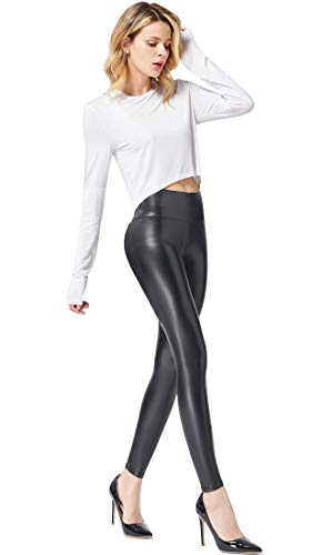 Ginasy Faux Leather Leggings Pants Stretchy High Waisted Tights for Women