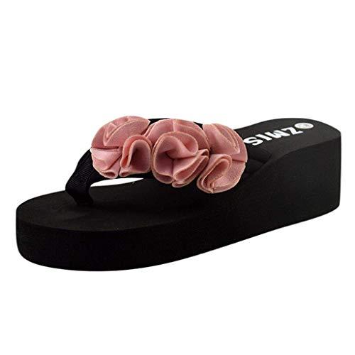 HUADUO Summer Thong Flip Flops Sandalias de Playa - Cuñas para Mujer Chanclas Summer Thong Beach Sandals Chunky High Platform