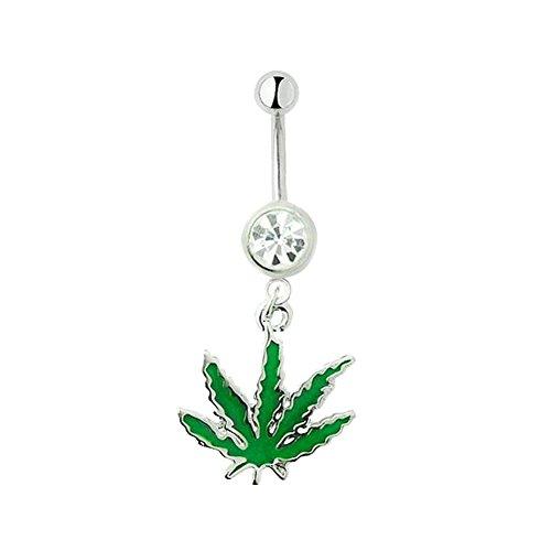 Chichengnian Hoja de Marihuana Hierba de Cannabis Anillo Piercing para el Vientre Joyería Atractiva del Cuerpo