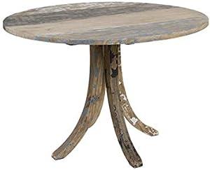 Tavolo tondo in legno decapato