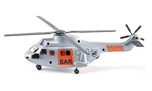 SIKU 2527, SAR Transporthubschrauber, 1:50, Metall/Kunststoff, Silber, Inkl. Trage und zu rettende Spielzeugfigur, Automatisch einziehbare Seilwinde