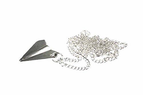 Miniblings Papierflieger Origami Halskette - Kette mit Anhänger Länge: 45cm - Flugzeug Flieger Style versilbert