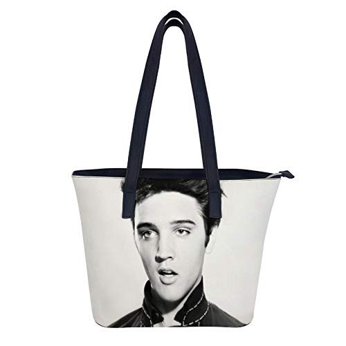 Young Elvis Presley Handtaschen für Damen Große Leder Schulter Crossbody Geldbörsen für Frauen Tote Bag Elegant für Damen