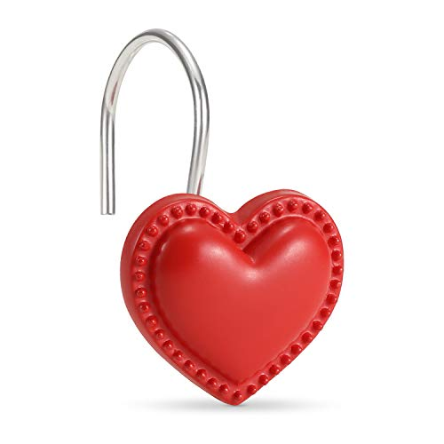 CHICTIE Red Heart Shower Curtain Hooks Rings,Set of 12 Decorative Shower Curtain Hooks,Valentines Day Stainless Steel Rust Resistant Shower Rings for Bathroom Curtains Rods