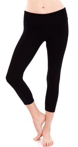Hollywood Star Fashion Women's Slimming Foldover Capri Crop Yoga Pants
