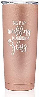 Rose Gold Wedding Planning Stainless Steel Coffee or Wine Tumbler New Bride or Engagement, Bachelorette, Newly Engaged, Bridal Shower (Rose Gold 20oz Tumbler - Wedding Planning Glass)