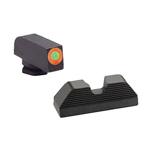 AmeriGlo GL-353 Green Tritium with Orange Outline Front and Black Serrated U Notch Rear Sight Set