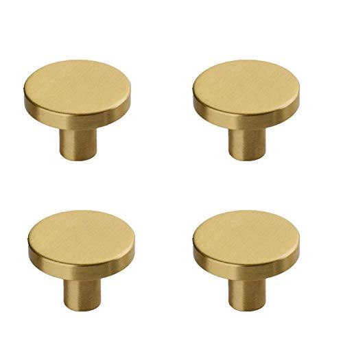Ototon - Juego de 4 pomos de armario de latón redondos para tiradores de muebles vintage para puerta de armario cocina (33 x 20 x 10 mm)