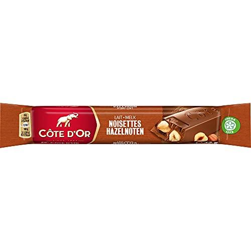 Côte d'Or - Bâton Chocolat au Lait et Noisettes Entières - Barres Chocolatées avec Cacao 100% Durable - Présentoir de 32 barres (45 g)