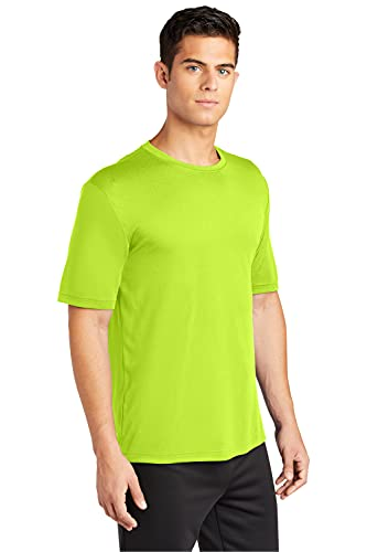 Clothe Co. Mens Short Sleeve Moisture Wicking Athletic T-Shirt, Neon Yellow, XL