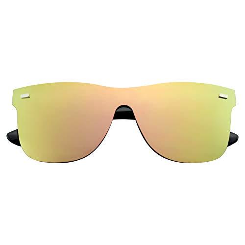 Emblem Eyewear - Gafas De Sol Retro Feflexivas De La Vendimia De La Lente Sin Color Del Espejo De Las Mujeres Para Hombre (Rosada)