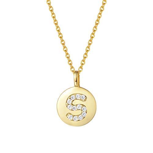 AGVANA Anfängliche Halskette mit Buchstabe Silber 925 Vergoldet Zirkonia Alphabet A bis Z Anhänger Namenskette Kette für Damen Frauen,Kettenlänge: 45cm(S)