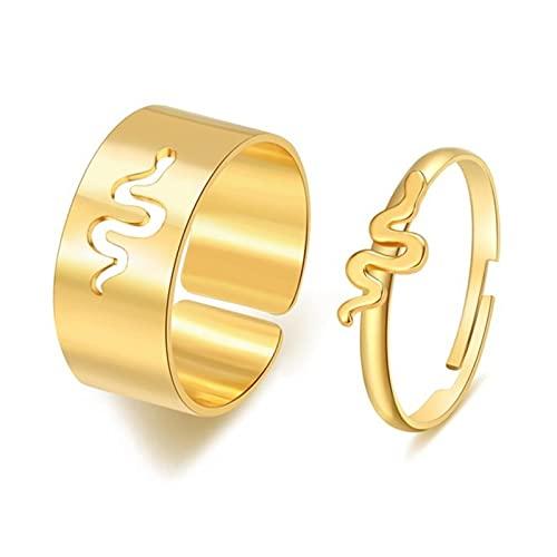CHENLING 2021 moda serpiente promesa anillos para parejas amantes oro plata color joyería coincidencia Bohemia alternativa compromiso