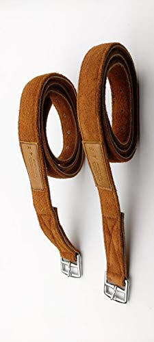 56//142 cm, Brown New Softee All Leather Stirrup Leathers Non-stretch Padded Riding Leathers