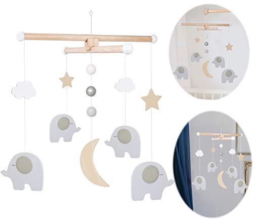 LS-LebenStil Holz Mobile Elefant Mond Grau Braun 35x35x40cm Babyzimmer