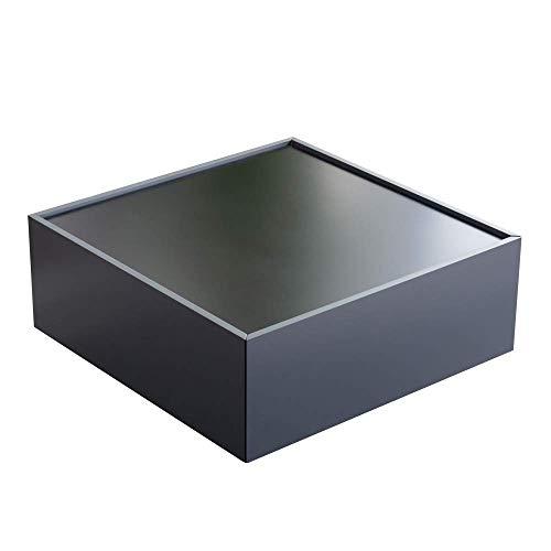 Marchio Amazon - Tavolo da caffè con 2 cassetti - 80 x 80 x 35 cm, grigio e nero