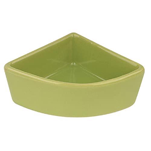 [Cicogna] ハムスター ハリネズミ えさ皿 餌入れ 三角 モルモット ペット 小動物用 陶器 食器 フードボウル 餌やり 水やり 給水 (グリーン)