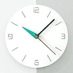 Stephanie Imports Modern Minimalist White & Teal Green Silent Wall Clock