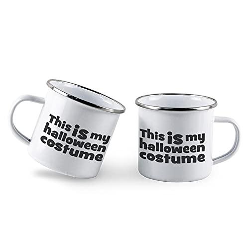 Juego de 2 tazas de t de metal con esmalte para disfraz de Halloween de 10 onzas, diseo de este es mi disfraz de Halloween, color blanco