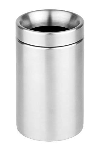 "APS Papelera de sobremesa ""Sunday - Pulido Mate, Cubo de Basura de Mesa con Tapa extraíble, Ø 10, Altura: 18 cm, 1,1 L."