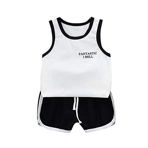 Fossen Ropa Bebe Niño Verano Camiseta sin Mangas a Rayas y Pantalones Cortos para Recién Nacidos Niña Niño (1 Años, Negro)