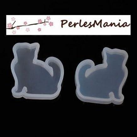 motivo: gatto 35/x 32/mm per la realizzazione di gioielli in resina Fimo Perlesmania.com S1181279 Stampo in silicone per ciondolo