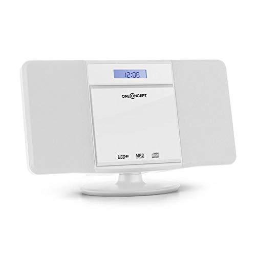 oneConcept V-13-BT Microanlage Kompaktanlage Stereoanlage (Bluetooth, LCD-Display, Ordnernavigation, Bass-Boost, AUX-IN, UKW-Radiotuner, Wecker, Fernbedienung, Wandmontage) weiß