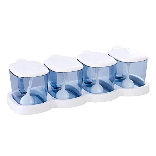 ASDFGH Set di condimenti in vetro per cucina- 4 cucchiai per alimenti - Base antiscivolo - Set di vasetti per spezie