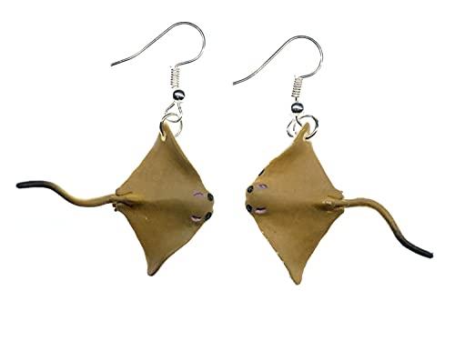 Miniblings Rochen Ohrringe Hänger 37mm Gummi Fisch Tauchen Skuba Meer Urlaub - Handmade Modeschmuck I Ohrhänger Ohrschmuck versilbert