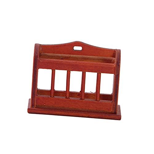 sharprepublic Modelo de estantería de casa de muñecas, Soporte de periódico en Miniatura Decorativo, exhibición de Escena de Vida, Adornos de habitación de Estudio - marrón