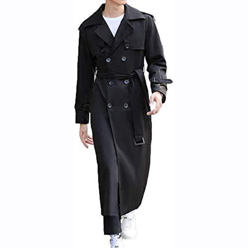 Männer Trenchcoat Plus Size Winter Lange Jacke Doppelreihüberzug Beige Casual Stilvolle Mantel mit Gürtel Lange Erbsen Mantel Britische Stil Business Outwear,Schwarz,9XL