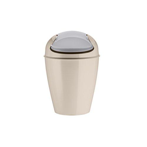 koziol Schwingdeckeleimer 2 L Del XS, Kunststoff, solid taupe, 16,5 x 16,5 x 24 cm