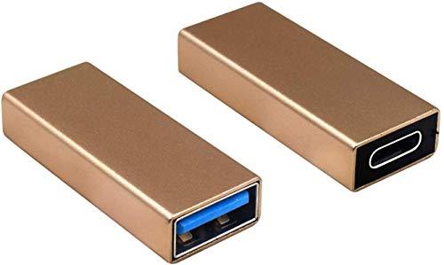 Adaptador USB C a USB paquete de 2, Adaptador USB C a USB 3.0 USB 3.1 Conector de adaptador USB 3.0 hembra a USB C hembra Compatible con iPhone 11, Google Pixel, Samsung Galaxy S20, Huawei, Moto (Plat