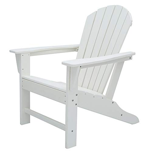 POLYKOM Adirondack Chair HDPE Outdoor Wood Plastic Lounge Beach Patio Rocking Lawn Chairs Lifetime for Outside Pool Furniture Seating Porch Weather Resistant (White)