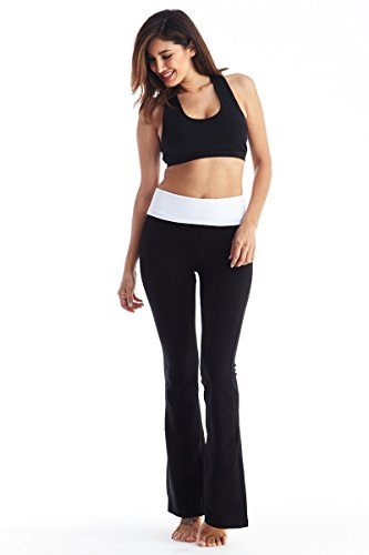 Viosi Yoga Pants for Women Bootcut Fold Over High Waisted Cotton Spandex Lounge Workout...