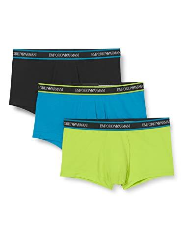 Emporio Armani Underwear 3-Pack Trunk Core Logoband Trunks, Lime/Nero/Oceano, M Uomo