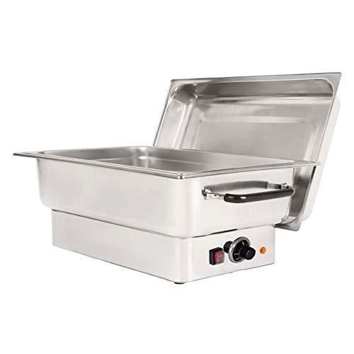 Chafing Dish mit Edelstahldeckel Speisewärmer elektrisch GN 1/1 Tiefe 100 mm, chafing dish:chafing Edelstahl