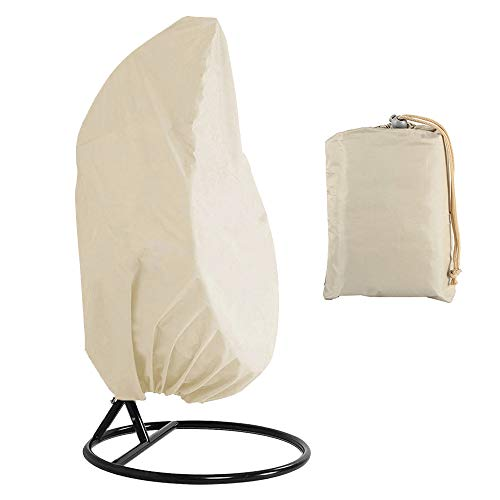 Patio Hanging Chair Cover Heavy Duty Egg Swing Chair Covers Dust Cover 210D Oxford Waterproof Outdoor Hanging Egg Chair Cover with Durable Hem Cord Outdoor Garden Furniture Protector (Beige)