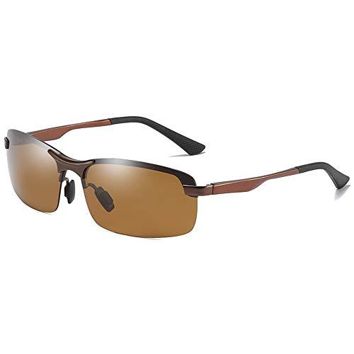 XFSE Gafas De Sol De Material De Metal Polarizado Nuevas De Medio Cuadro, Hombres Marrones Que Conducen Gafas De Sol De Conducción. Gafas de Sol