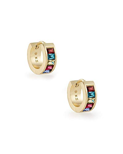 Kendra Scott Jack Huggie Earrings in Gold Multi-Color Nano Crystal