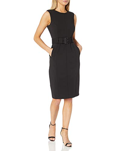 Calvin Klein Women's Sleeveless Dress with Novelty Belt, Black, 6
