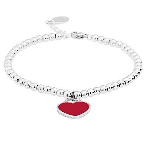 Inscintille Sparkling Heart Rock Steel Ball Bracelet with Red Heart